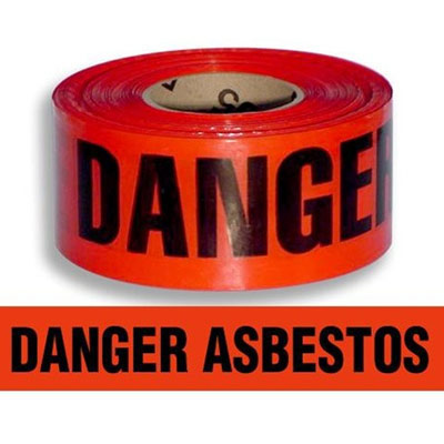 """Danger Asbestos"" - Caution Tape - Safety Banner - 3"" x 1000"""