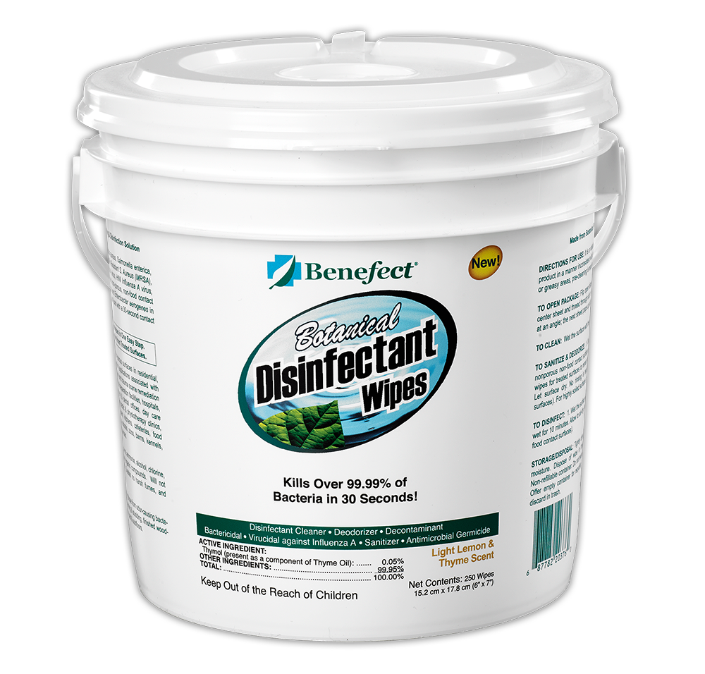 Benefect Botanical Disinfectant Wipes, 250 ct, 20376 - Pack of 6
