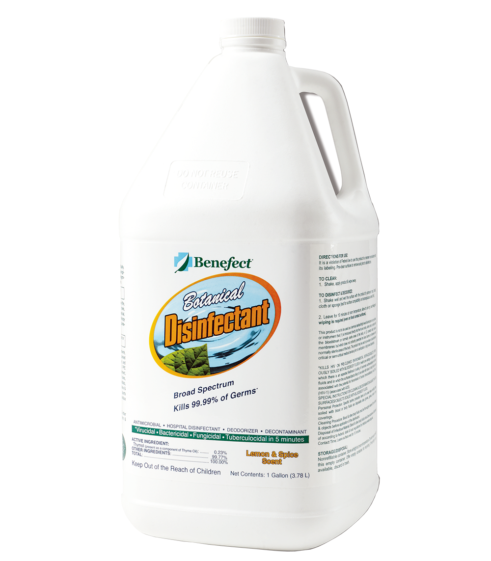 Benefect Botanical Disinfectant, Kills 99.99% of Germs, Case of 4 Gallons