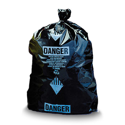 "Asbestos Disposal Bags - 3.5 Mil 38"" x 60"" Black Printed"
