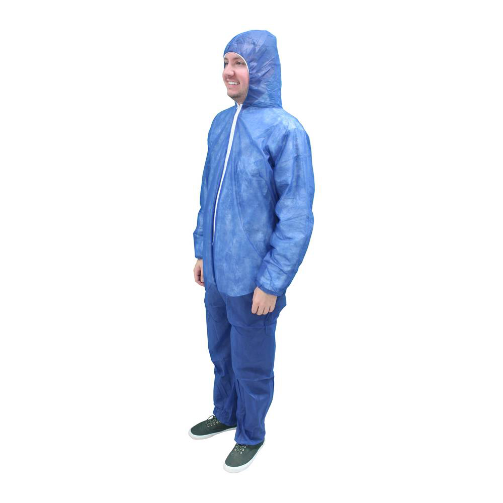 Malt Polylite Coverall Suit - Blue with Attached Hood/Boots and Elastic Wrist - Bulk Case of 25
