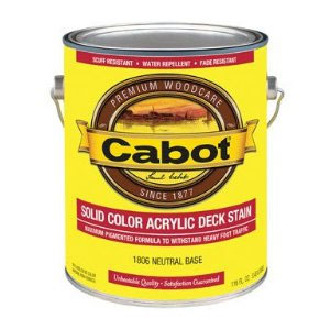 Cabot 1600 Solid Deck Stain - Exterior Wood Finish, 1 Gallon - 15 Medium Base Color Selections