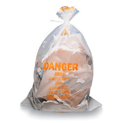 "Asbestos Disposal Bags - 3.5 Mil 33"" x 50"" Clear Printed"