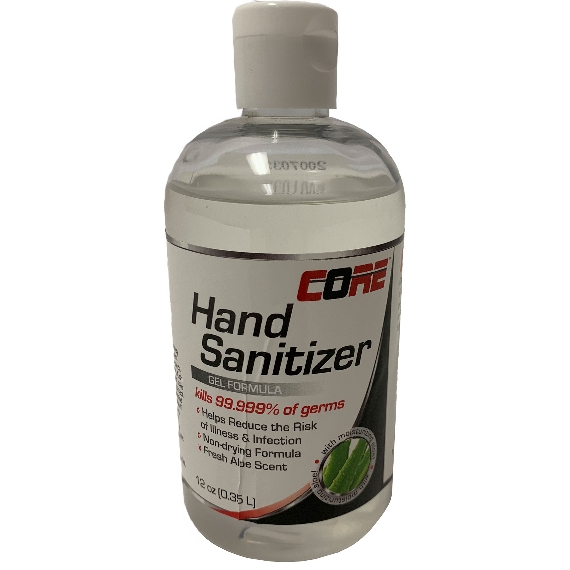Core Hand Sanitizer Gel with Aloe, Kills 99.999% of Germs, 12oz Flip-Top Squeeze Bottle