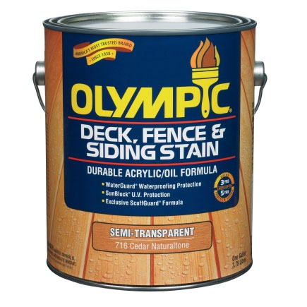 Olympic Exterior Wood Stain Fence Finish - 1 Gallon, Semi-Transparent Colors