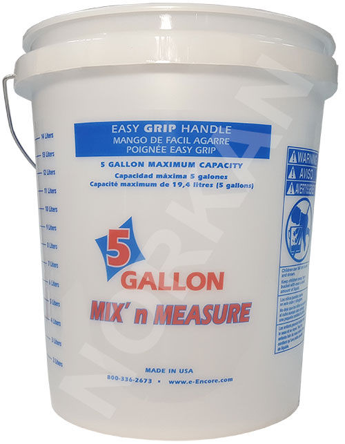 Foam Grip Empty 5 Gallon Clear Measuring Bucket